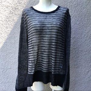 EDUN gray stripe wool rayon knit pullover NWT sz M